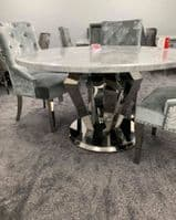 1.3m Grey Marble Round Dining